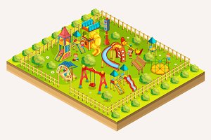 Children playground isometric