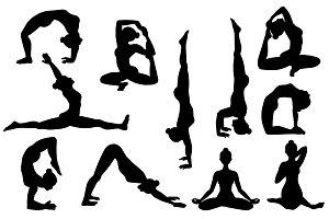 26 Yoga poses. Silhouettes