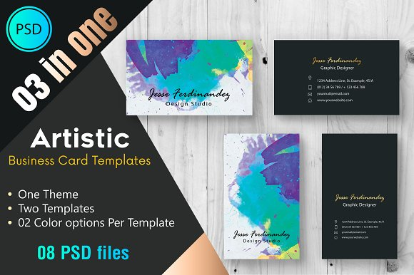 Artistic business card template 002 business card templates artistic business card template 002 business card templates creative market accmission Image collections