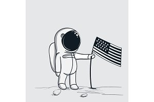 astronaut sets american flag on the moon