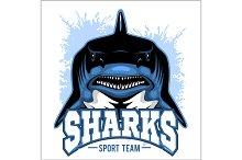 Strong shark sports mascot. Vector illustration.