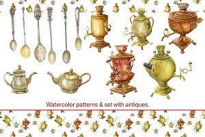 Watercolor vintage items set