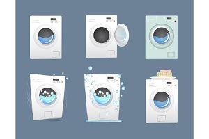 Washing machine set. Flat style vector illustration.