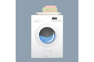 Washing machine with basket. Flat style vector illustration.