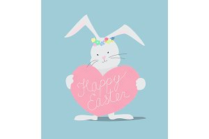 Happy Easter lettering card with Rabbit