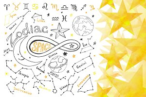 Zodiac signs. Hand drawn horoscope