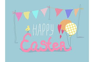 Happy Easter lettering card with cute chick and flags