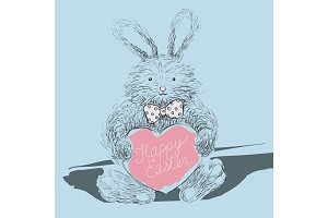 Happy Easter greeting card with cute fury rabbit with bow-tie and lettering.