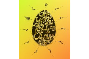 Happy Easter greeting card with grunge lettering and egg.
