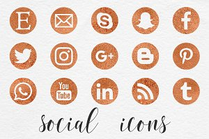 Social Media Icons- Copper