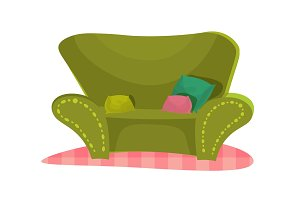cartoon vector illustration green couch