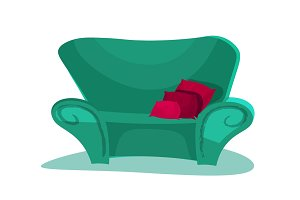 Modern isolated couch icon. Furniture design. Flat style vector illustration.