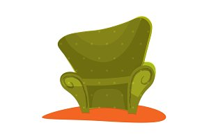 Green modern style Armchair in cartoon