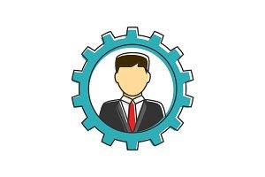 Businessman in gear flat line icon
