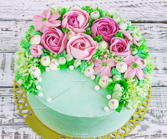 Birthday Cake With Flowers Rose Food Drink Photos Creative