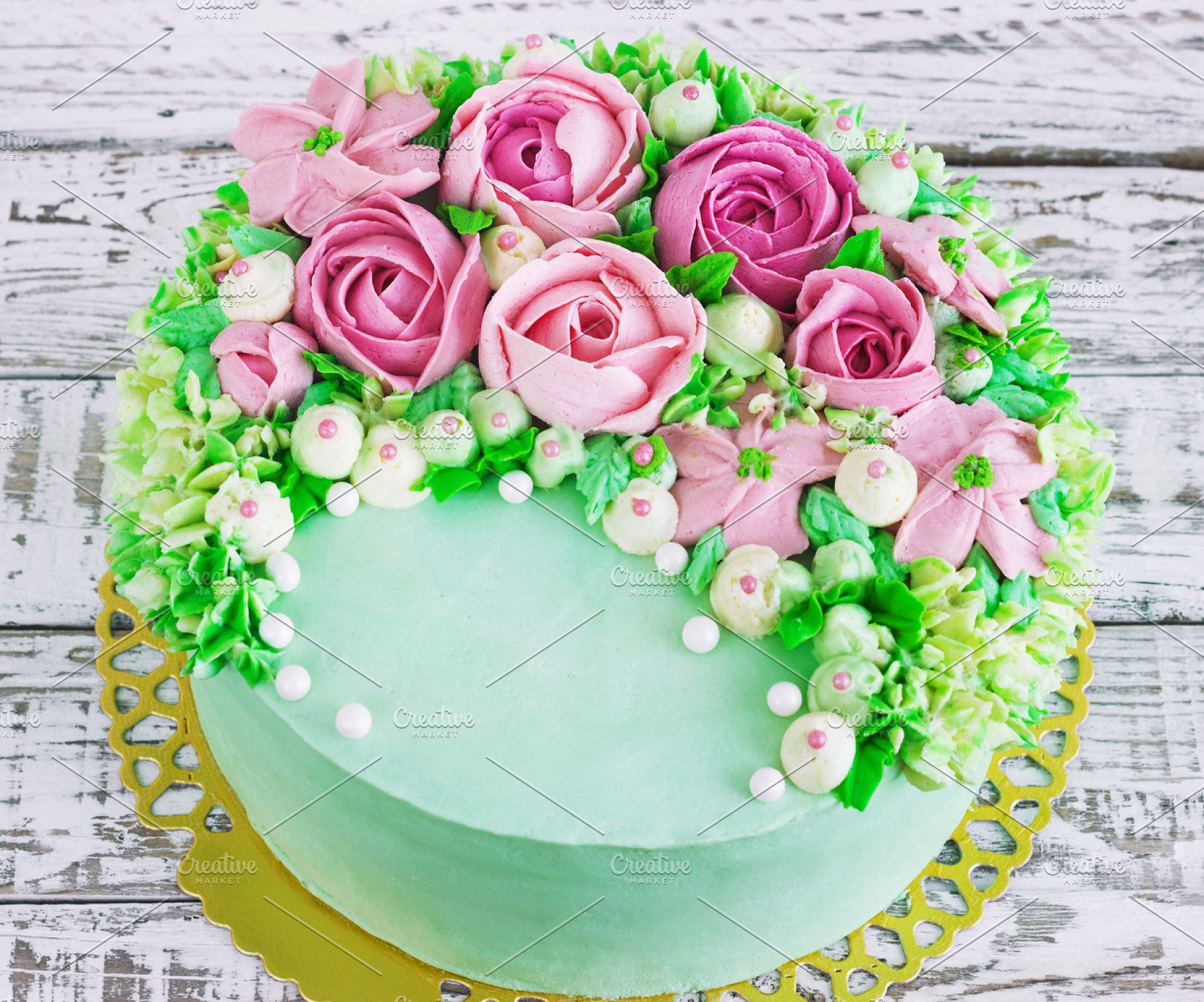 Save Birthday Cake With Flowers Rose