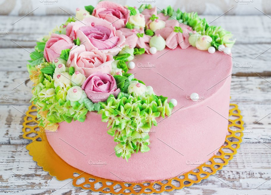 Birthday Cake With Flowers Rose