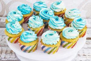 Festive cupcakes with cream