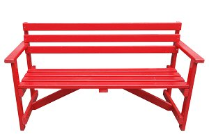 Red bench seat isolated over white