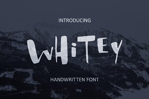Whitey Handwritten brush font.
