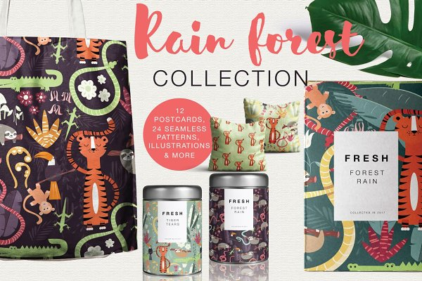 Rain forest, patterns & illustratio…