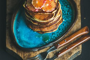 Homemade pancakes with bloody orange