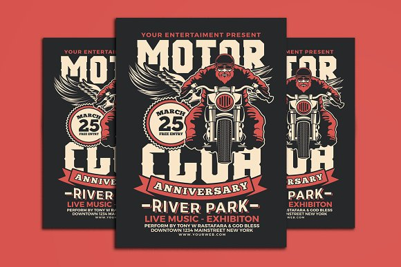 motorcycle club event flyer flyer templates creative market