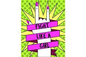 Women's rights concept pop art style