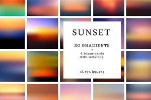 20 sunset gradients + 4 bonus card