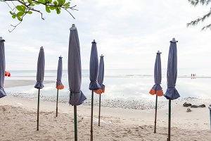 Beds and umbrellas on the beach.