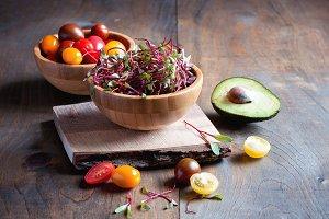 Greens, beet micro greens, salad