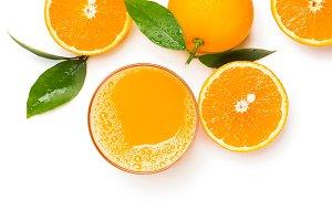 Fresh orange juice, above view.