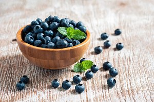 Blueberries in wooden bowls