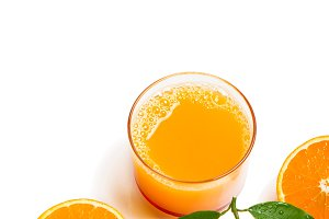 Glass of pressed orange juice.