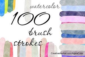 100 Watercolor Brush strokes