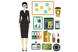 Business woman kit. Office icons