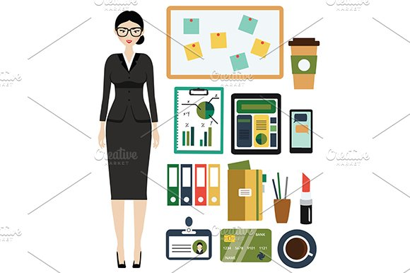 Business Woman Kit Office Icons
