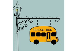 Vintage sign school bus stop