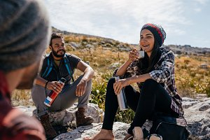Young hikers relaxing