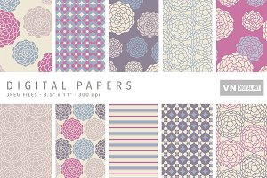 Digital Papers - Round Flower - 438