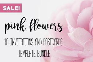 Floral invitations template bundle