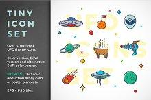 Funny UFO outlined icon set + BONUS