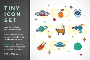 Funny UFO outlined icon set + BONUS
