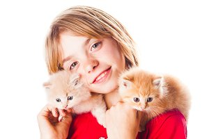 Girl and kittens