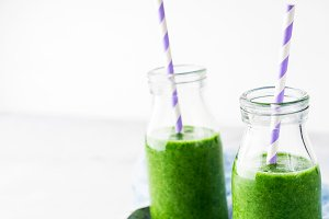Healthy food concept green spinach smoothie breakfast