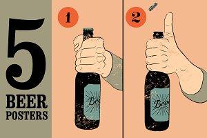 Vintage grunge style beer poster.