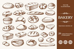 Hand drawn bakery set / 2