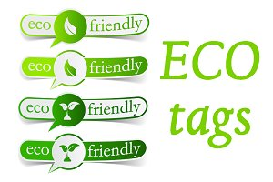 Eco friendly - set of green labels