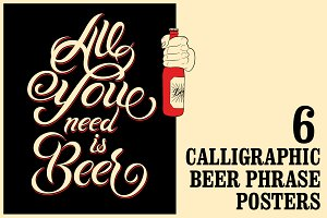 Beer vintage calligraphic poster.