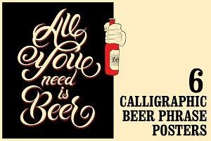 Beer vintage calligraphic poster.